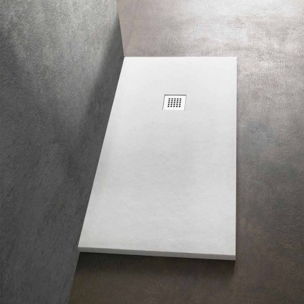 Shower Tray 170x80 in Stone Effect Resin with Steel Grid - Domio