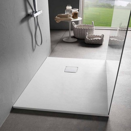 Shower Tray 90x70 in White Velvet Effect Resin with Drain Cover - Estimo