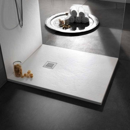 Modern Shower Tray 90x80 in Resin Effect Stone and Steel - Domio