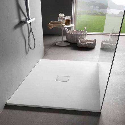 Square Design Shower Tray 90x90 in White Resin Velvet Effect - Estimo