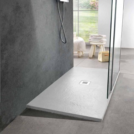 White Resin Shower Tray 140x70 with Steel Grid and Drain - Sommo