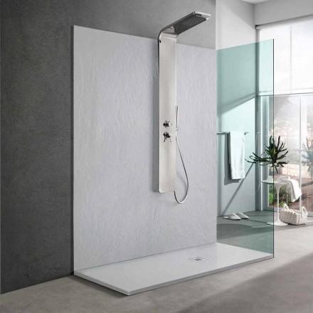 Slate Effect White Resin Shower Tray 170x70 Modern Design - Sommo