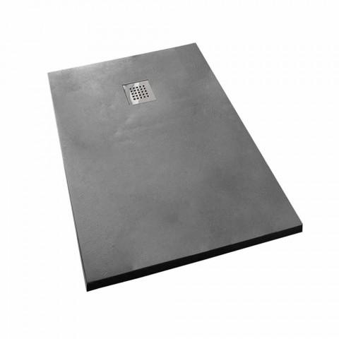 Concrete Effect Resin Shower Tray 140x90 Modern Design - Cupio