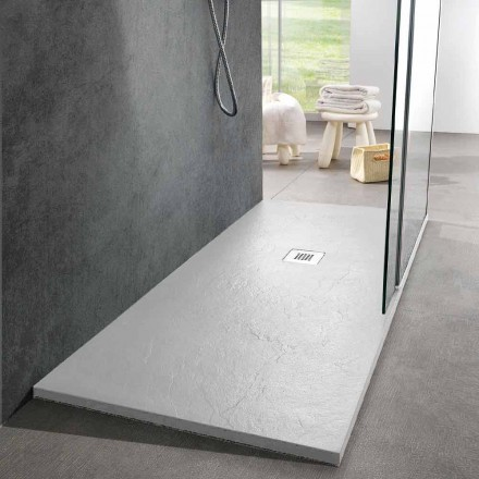 Modern Shower Tray 170x80 Slate Effect Finish in White Resin - Sommo