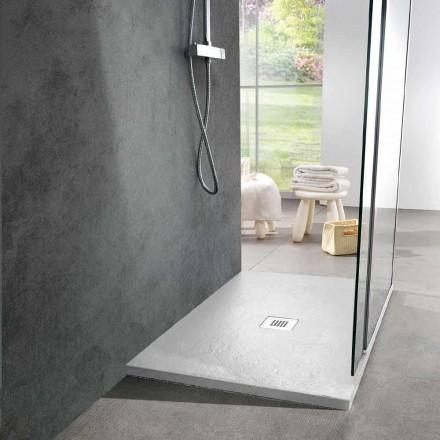 Modern Shower Tray 90x70 in White Resin Slate Effect - Sommo