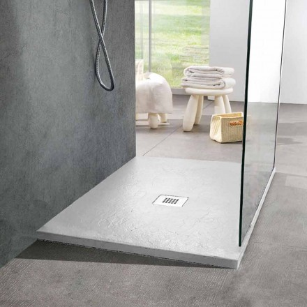 Square Shower Tray 80x80 in White Slate Effect Resin and Steel - Sommo