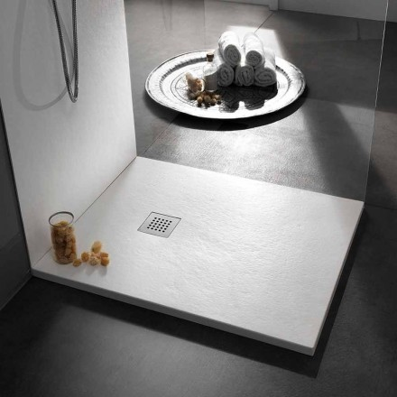 Square Shower Tray 80x80 in Resin with Modern Stone Effect Finish - Domio