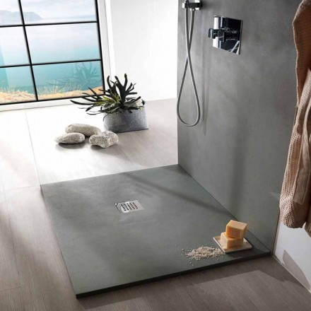 Square Shower Tray 90x90 Concrete Effect with Steel Grid - Cupio