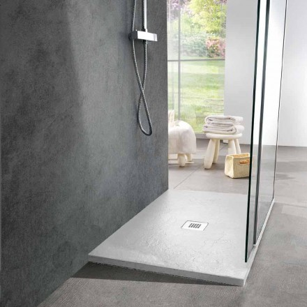 Rectangular Shower Tray 100x80 in White Resin Slate Effect - Sommo