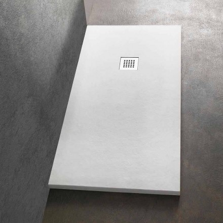 Rectangular Shower Tray 140x80 in Resin with Steel Grid - Domio