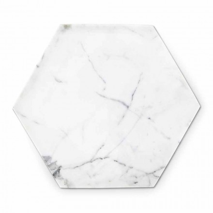 Hexagonal Design Plate in White Carrara Marble Made in Italy - Sintia