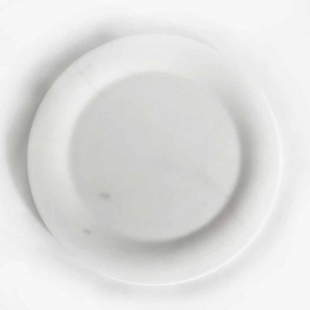 Flat Plate in Glossy White Statuary Marble of Made in Italy Design - Brandy