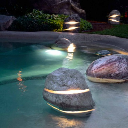 Luminous decorative stone for diving with Led Twice with 2 slits