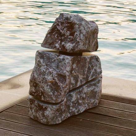 Luminous stone in Fior di Pesco Carnico marble with Led Cross, unique piece