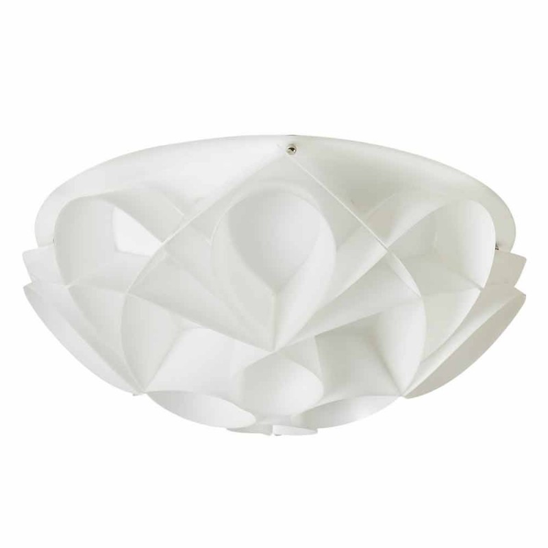 Ceiling lamp 2 lights pearl white modern design, diam.43cm, Lena