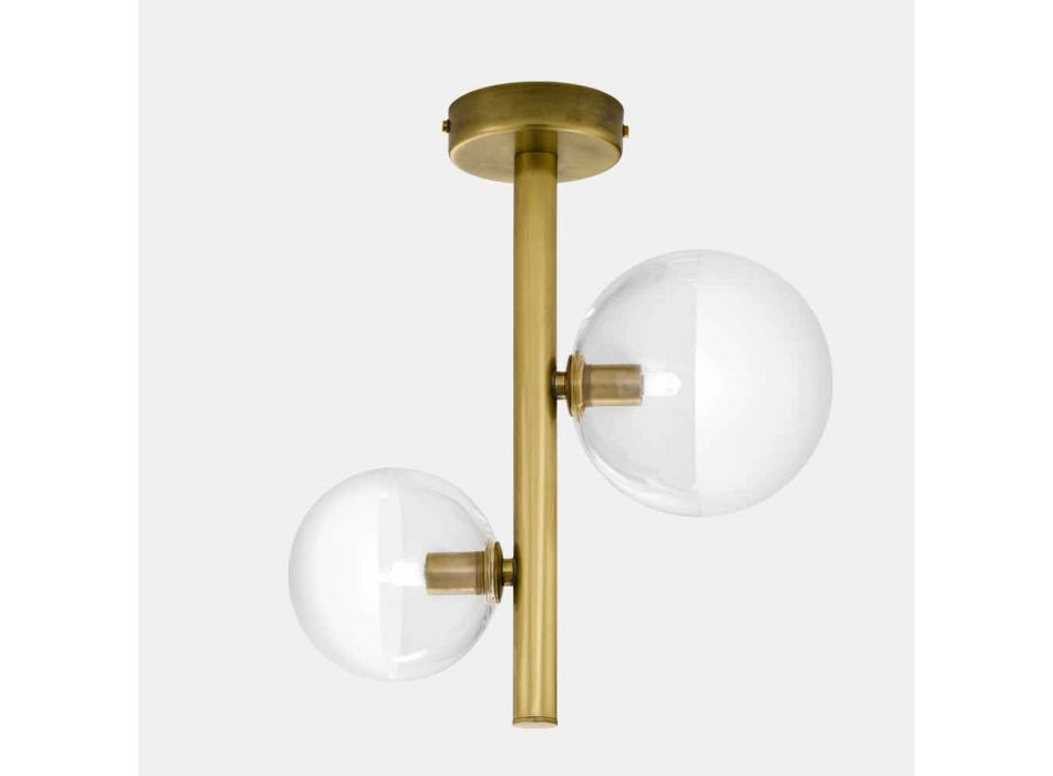 2 Lights Glass and Natural Brass Ceiling Lamp Made in Italy - Molecola by Il Fanale