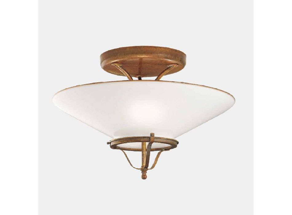 3 Lights Ceiling Lamp in Brass and Cone Murano Glass - Country by Il Fanale