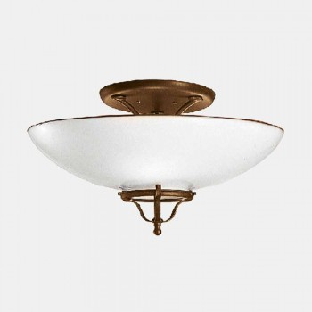 3 Lights Ceiling Lamp in Brass and Murano Glass Semisfera - Country by Il Fanale