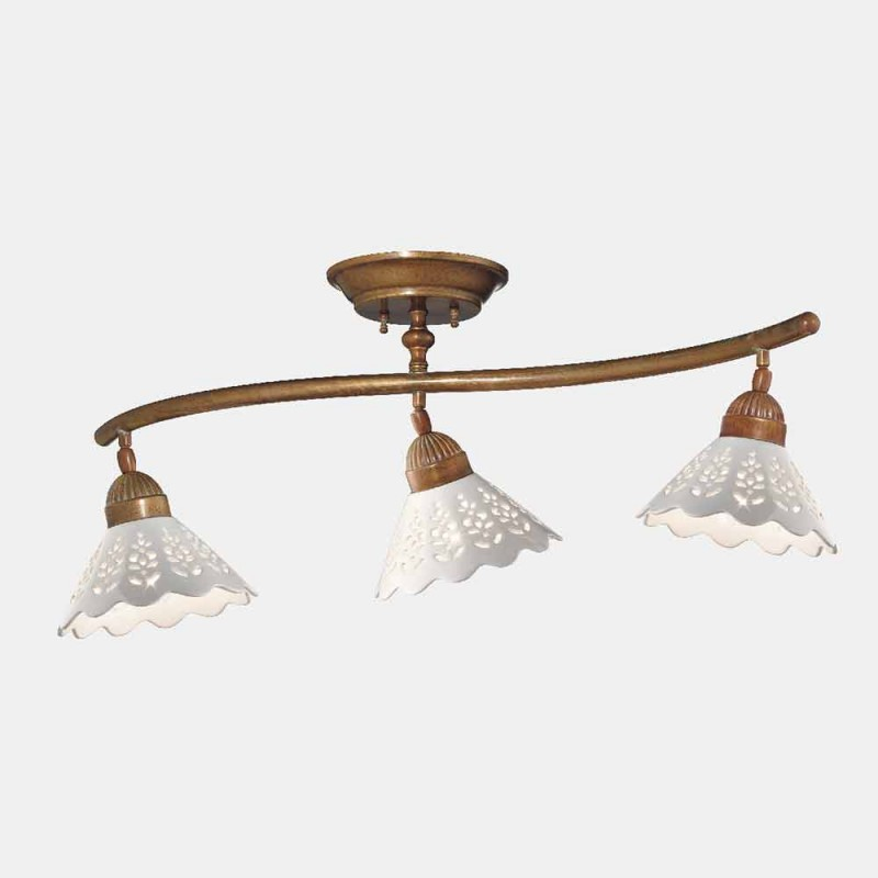 3 Lights Ceiling Lamp in Brass and Perforated Ceramic - Fiordipizzo by Il Fanale