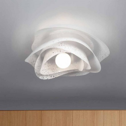 Modern design ceiling lamp Adalia white finish, made in Italy Ø 55 cm