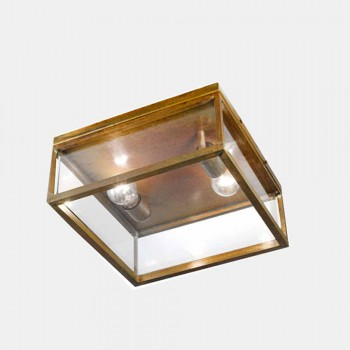 2-Light Outdoor Ceiling Lamp in Brass and Vintage Glass - Framework by Il Fanale