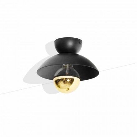 Metal Design Ceiling Lamp with Gold Finish Detail Made in Italy - Valta
