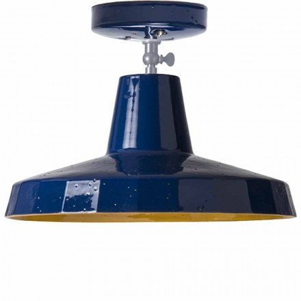 Ceiling light in tuscan maiolica and brass, 30cm, Rossi – Toscot