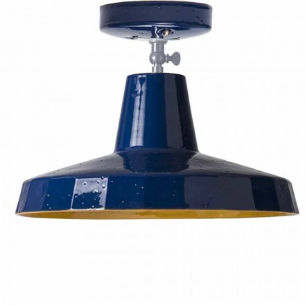 Ceiling light in brass and tuscan maiolica, 42cm, Rossi – Toscot