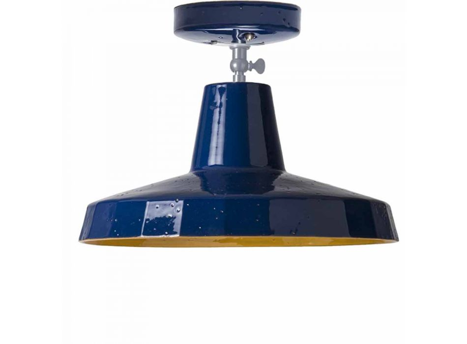 Ceiling lamp in Tuscan majolica and brass, 42 cm, Rossi - Toscot