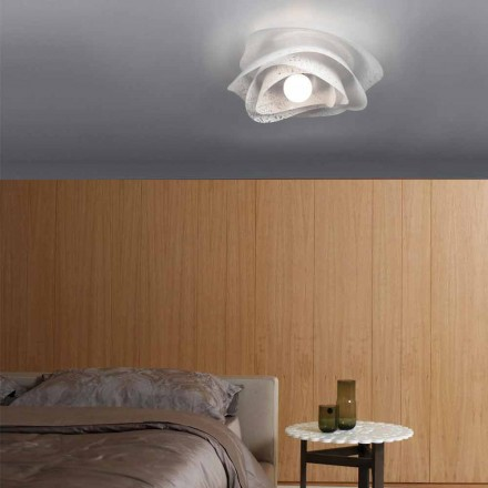 Modern design ceiling lamp Adalia white finish, made in Italy Ø 40 cm