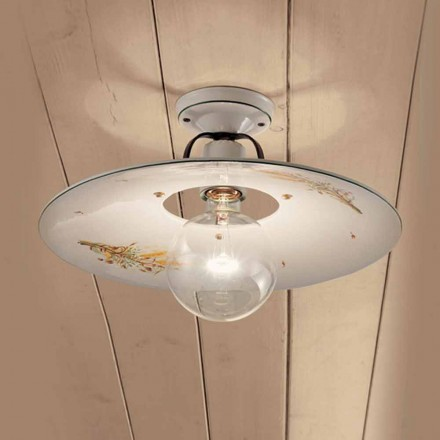 Round ceramic ceiling light made in Italy by Ferroluce