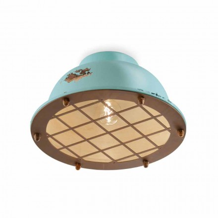 Nautical style ceiling lamp with grid Mary by Ferroluce