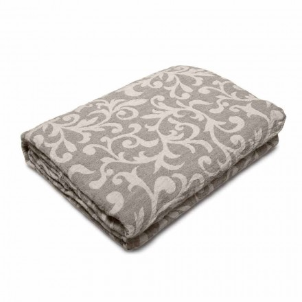 Plaid Blanket in Crumpled White or Natural Linen Made in Italy - Jennifer