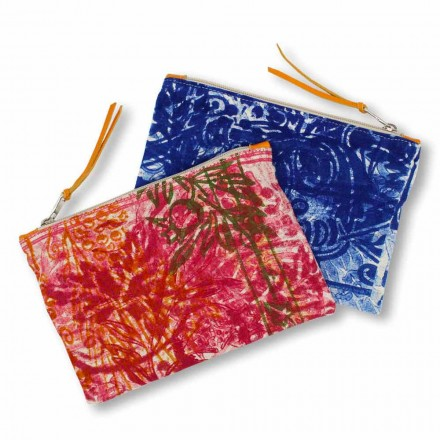 Hand-Printed One Piece Cotton Clutch Bag, 2 Pieces - Viadurini by Marchi