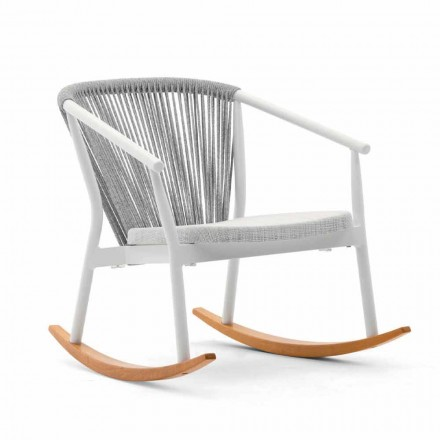 Outdoor Rocking Armchair in Solid Wood and Fabric - Smart by Varaschin