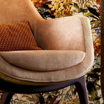Bergére armchair in Grilli Wilde design fabric made in Italy