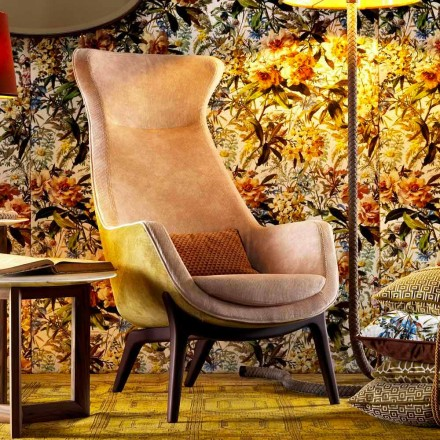 Design bergére armchair in fabric Grilli Wilde 100 % made in Italy