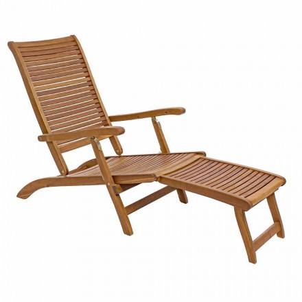 Reclining Outdoor Chaise Longue in Natural Wood - Roxen