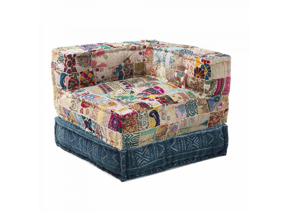 Chaise Longue Armchair of Ethnic Design in Patchwork Cotton, for Living Room - Fiber