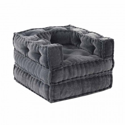 Ethnic Design Chaise Longue Armchair in Gray or Blue Velvet - Fiber