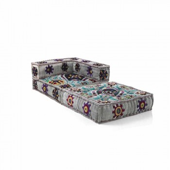 Chaise Longue armchair in Patchwork Cotton for Ethnic Design Lounge - Fiber