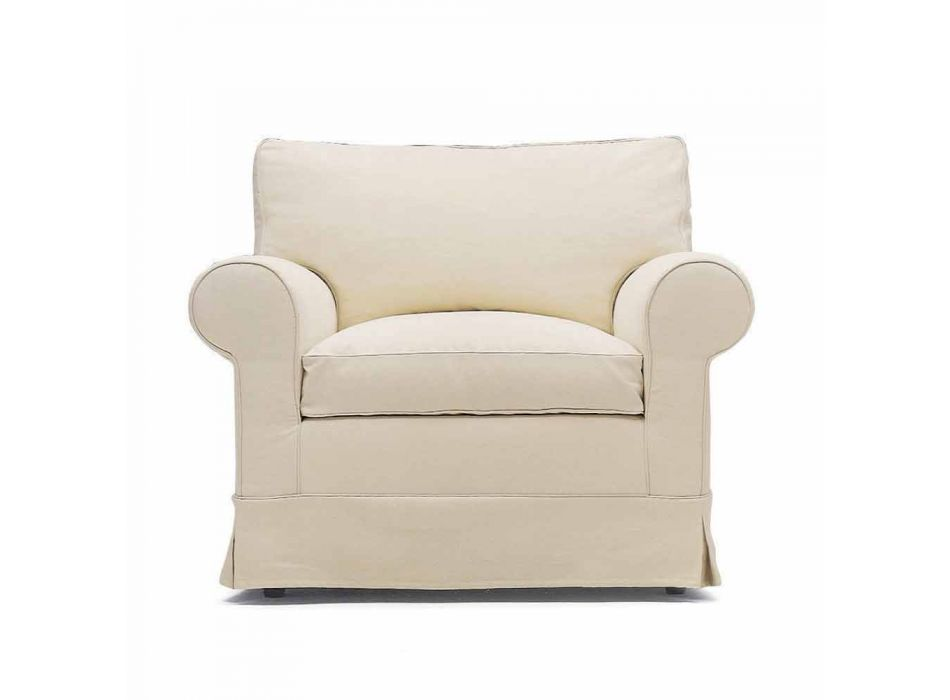 Classic Living Room Armchair Upholstered in Made in Italy Fabric - Andromeda