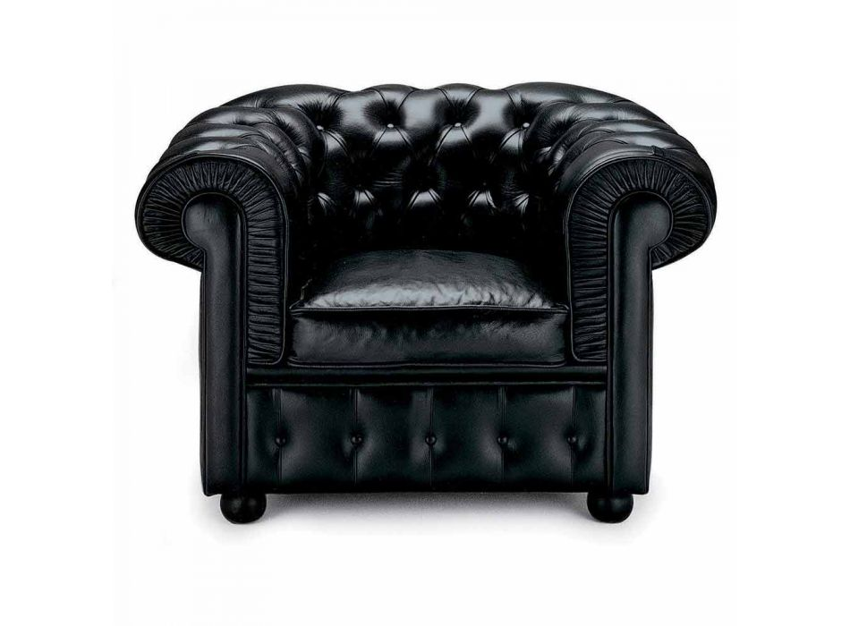 Classic Armchair Covered in Leather with Wooden Feet Made in Italy - Idra