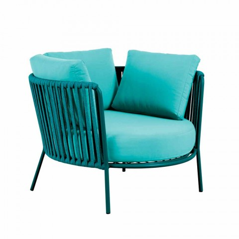 Colored Outdoor Armchair in Metal, Rope and Fabric Made in Italy - Orona