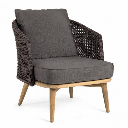 Outdoor Armchair with Rope Backrest and Teak Legs, Homemotion - Chantall