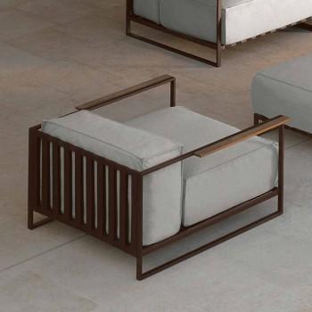 Casilda Talenti outdoor design armchair in padded stainless steel