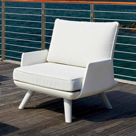 Upholstered Outdoor Armchair of White and Modern Design - Samurai by Myyour