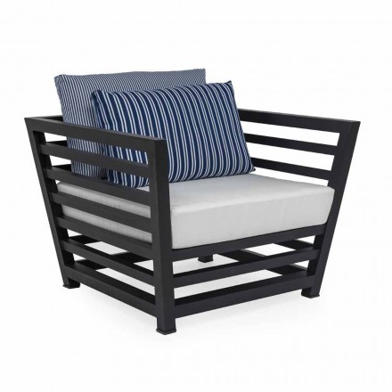 Outdoor Armchair in White or Black Aluminum and Fabric Cushions - Cynthia