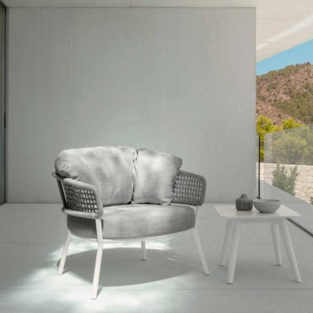 Moon Alu Talenti outdoor armchair in rope, aluminum and fabric