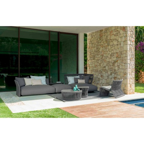 Cliff Talenti outdoor armchair in rope and fabric, Palomba design